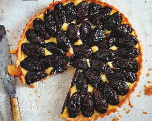 Tart aux Pruneaux (Prune Flan) Chef Pierre Koffmann, Memories of Gascony, uses pastry cream
