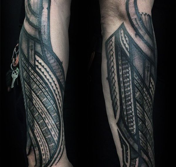 Manly Guys Polynesian Outer Forearm Tattoos Tattoo Designs