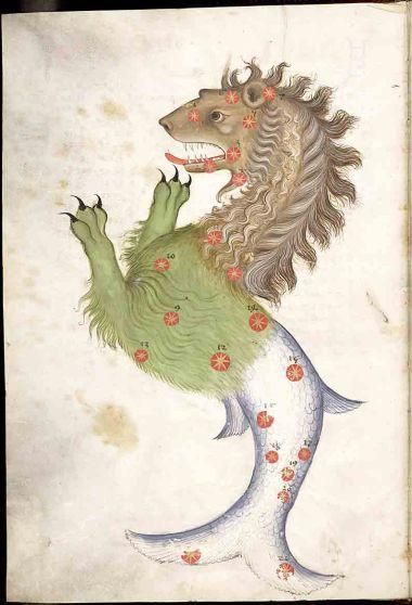 Catalogus Stellarum Fixarum, Codex DA 11.13. Persian manuscript illumination of Leviathan or Cetus Illustration from a copy of Al-Sufi's The Book of Fixed Stars. 15th Century.
