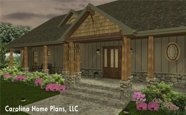 Large welcoming covered front porch entry. | House Plans