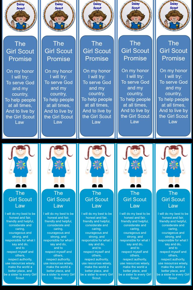 Daisy Scout bookmarks- made these to help them remember the law and promise.