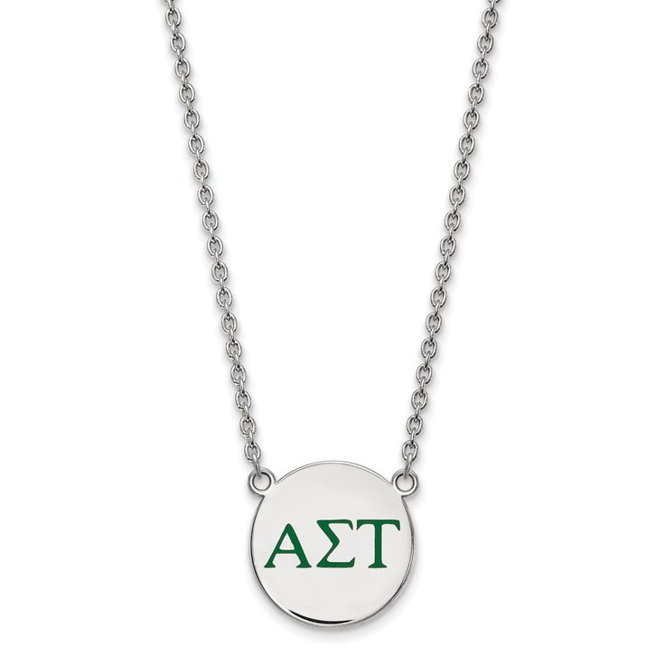 LogoArt Sterling Silver Alpha Sigma Tau Small Enameled Pendant With Chain