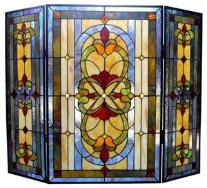 "Victorian Fireplace Screen Tiffany Style Stained Glass 40"" Wide 