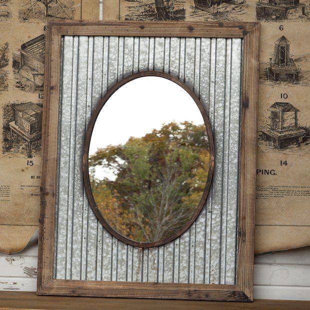 Corrugated Metal Mirror | Tin Frame Mirror Antique Farmhouse