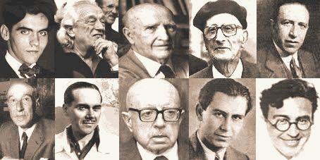 Diferentes retratos de los autores más importantes de la Generación del 27.