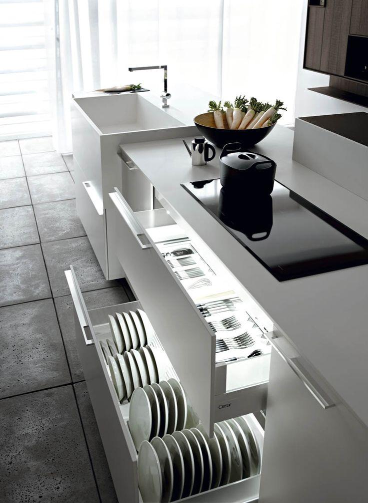 Fitted kitchen with island KALEA by CESAR ARREDAMENTI | design Gian Vittorio Plazzogna