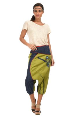 Pantalón pesquero corto algodón efecto denim cierre con cremallera con cremallera bolsillos fantasía medias pantalón bombacho  solapa larga sobre 3 oro cintura.