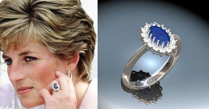 El anillo de compromiso de Lady Di, una pieza de oro blanco y diamantes con un importante zafiro central que resultó una de las más replicadas de la historia.