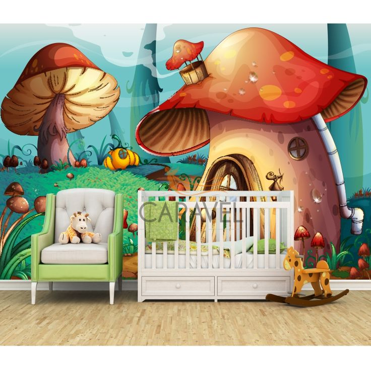 Παιδική Ταπετσαρία τοίχου με σπίτια από μανιτάρια