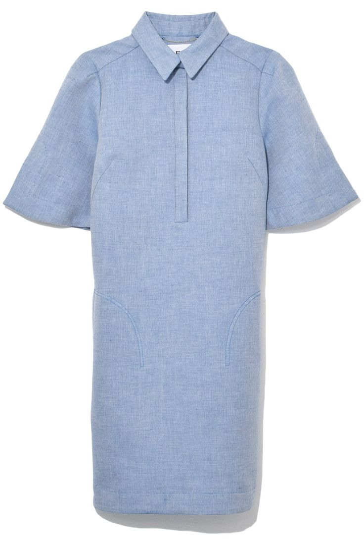 Carven Chambray Short Sleeve Dress in Steel Blue