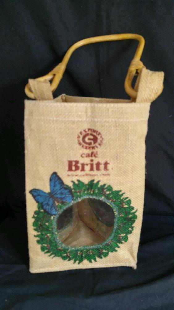 Vintage Cafe Britt Burlap Sack Wine Holder Costa Rica