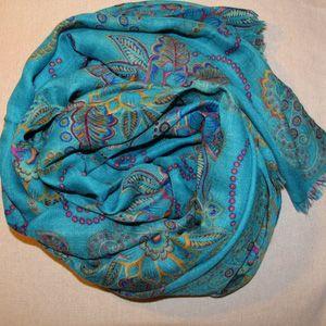 Vintage Blue Totem Boheim Style Large Cotton Scarf