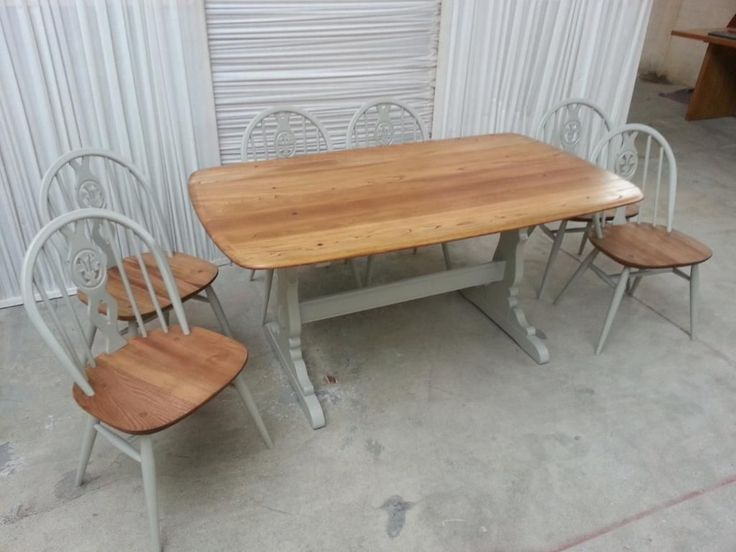 Ercol Refectory Table And 6 Chairs Upcycled In Farrow And