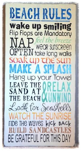 BEACH RULES Haind Painted Typography / Subway Art Wood Sign