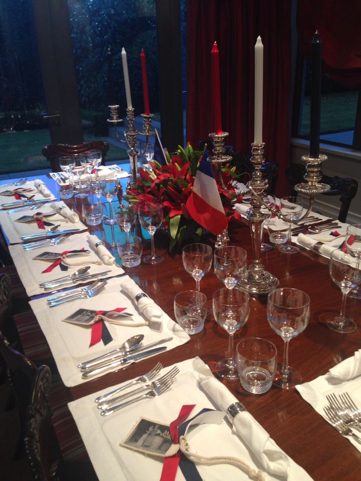 Table setting for a Bastille Day French Dinner  Www.deluxecuisine.co.nz
