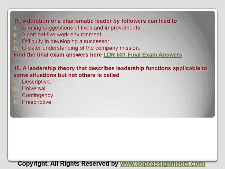 Want to be a straight 'A' student? Join us and experience it by yourself. http://www.UopeAssignments.com/ provide LDR 531 and Entire Course question with answers. LAW, Finance, Economics and Accounting Homework Help, University of Phoenix Final Exam Study Guide, UOP Homework Help etc. Complete A grade tutorials.