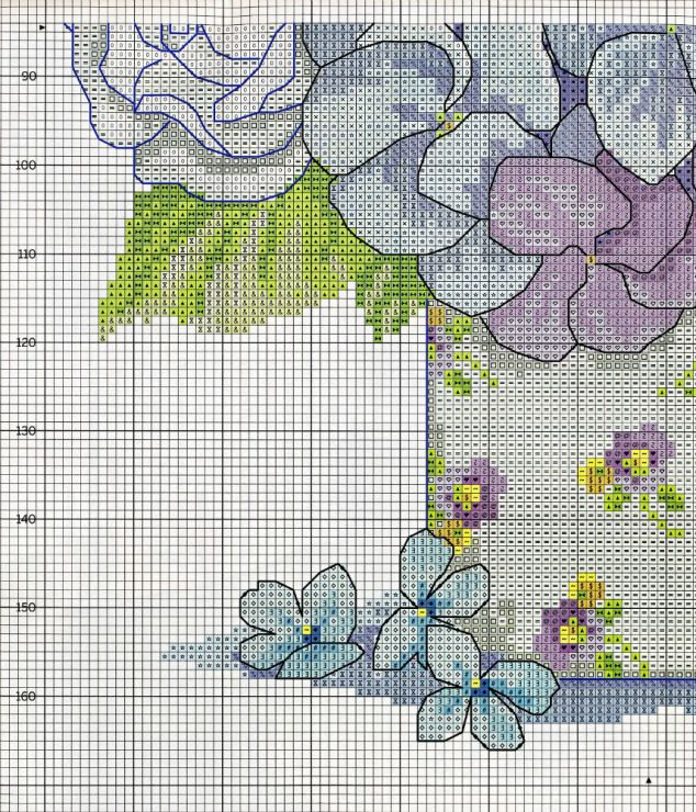 Cross stitch - flowers: Hortensia, roses and iris bouquet in a vase - cushion (chart - part B1)