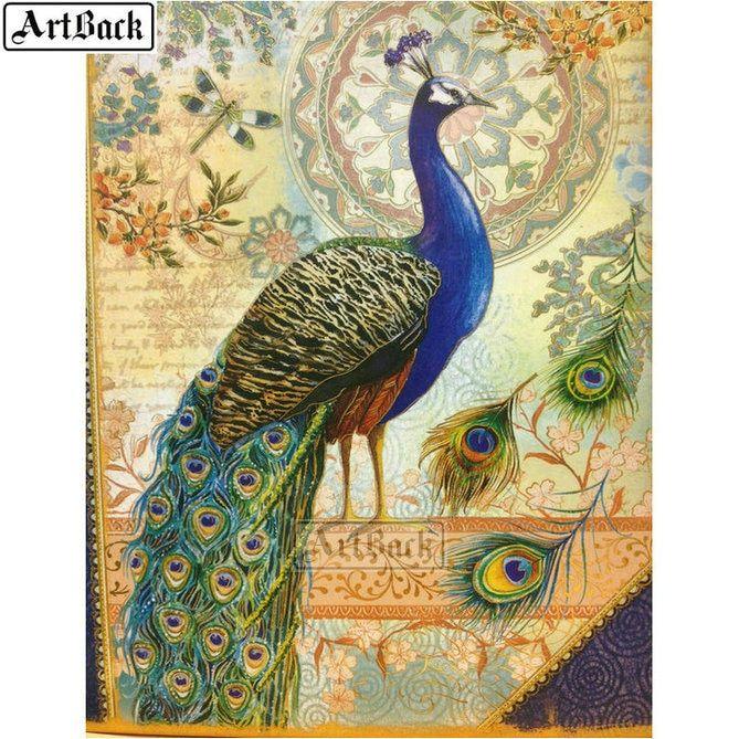 Painting White Peacocks Cross Stitch Animals Mosaic DIY Diamond Craft Home Decor