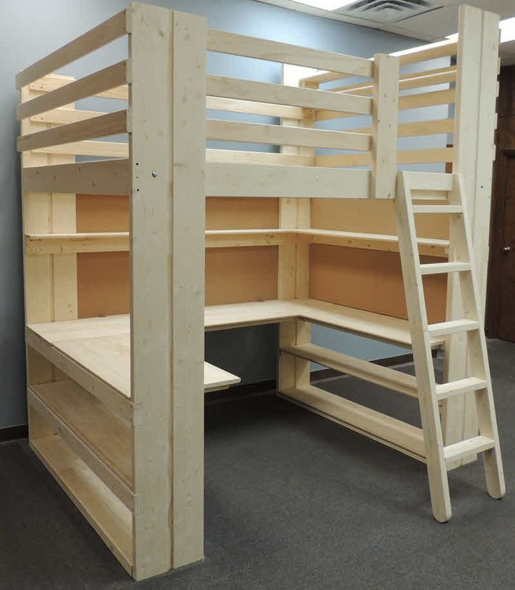 Workstation loft bed with U-Shaped Desk, shelving and cork boards.