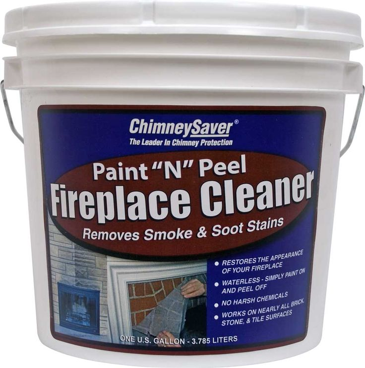 "ChimneySaver Paint ""N"" Peel Fireplace Cleaner removes smoke and soot stains from fireplace fronts. Paint on, let dry, then peel off to reveal a clean surface"