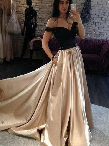 2042e93ebc8d A-Line Off The Shoulder Black Satin Long Prom Dress,Cheap Prom Dresses
