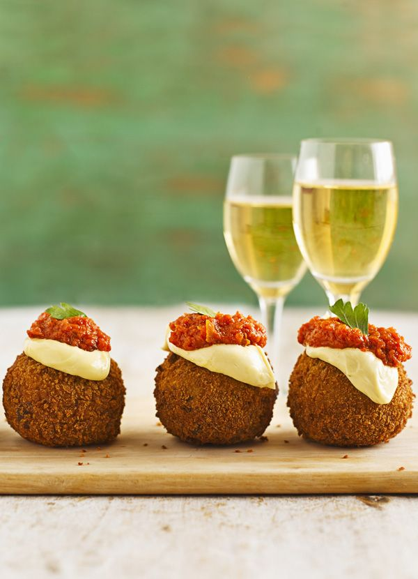 Bermondsey bombs. The best canapé using mashed potato. Pork mince wrapped in mash makes an easy nibble that's coated in breadcrumbs and served with spicy tomato sauce and aïoli. It's the creation of genius Spanish chef Jose Pizarro who has a tapas bar and restaurant on Bermondsey Street, London.