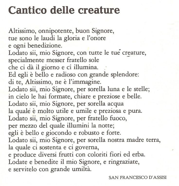 Santodelgiorno: Cantico delle creature - San Francesco d'Assisi