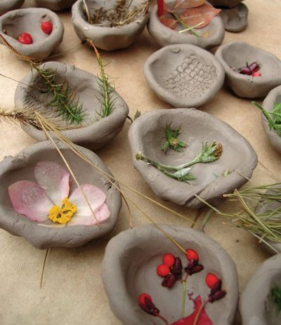 Textures from nature...ball up the clay and make a pinch pot, use a hump mold or have students press the ball of clay onto their knees and mold into a bowl shape