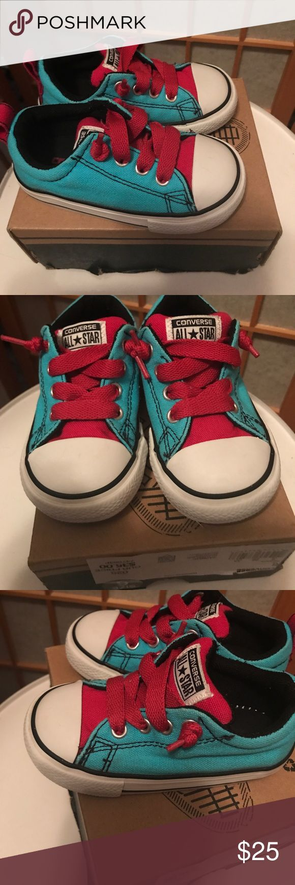 ❤️NWOT CONVERSE- TODDLER GIRL 6C Teal &Pink I bought these for my daughter for Christmas, but they were too big and by the time I remembered about them (she's saying) they are too tight! I think her foot is just wide. I'd say they do run at least a half size bigger than Nike. My daughter wore these one time and took them off in the car because she said they hurt!  I ah e the bottom of the box they came in! Bundle with other toddler shoes or a pair for yourself in my closet and save!! I'm…