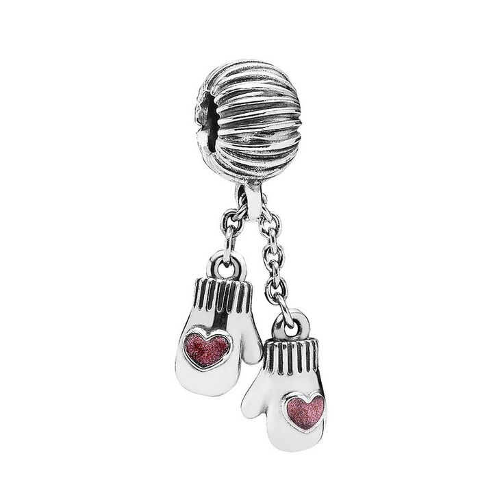 Woollen mittens silver dangle with pink enamel, Pandora #fashion #jewelry #jewellery #charms #charm #gloves #christmas #gift #christmasgift #gifts