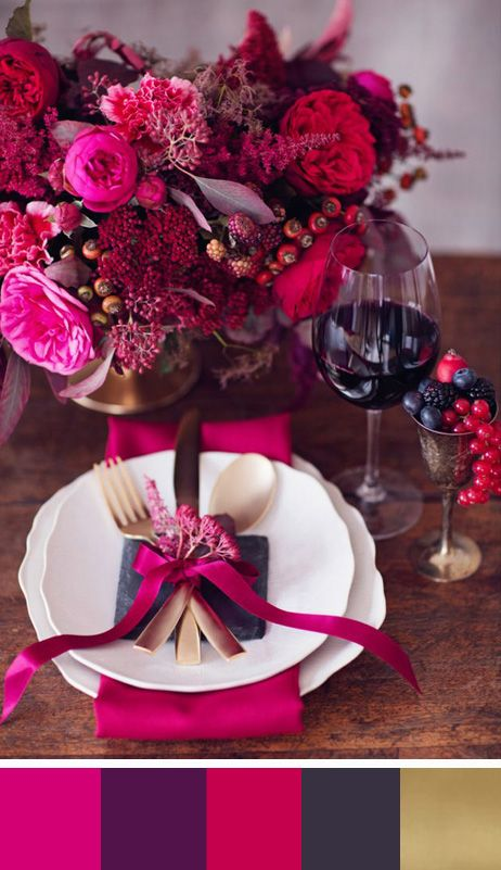 For Fall/Winter 2014 Table Setting - Beautiful Dark Magenta, Dark Plum, Berry Red, Slate and Brass