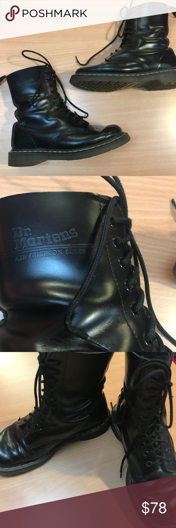 VINTAGE Doc Martens 1480 Original Combat Boots 10 eye black combat boots! Air Wair Doc Martens. The original, classic style. Marked UK 7, US Ladies 9, EU 41. Yellow top stitching, black laces. These are straight out of the 90's. Broken in, and in great vintage condition. Some scuffs on toes, otherwise perfect leather condition. The soles are beautiful. I think they feel more like a size 10 than a 9, so if you are familiar with Doc Marten sizing, this isn't new to you. Dr. Martens Shoes…