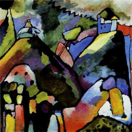 Wassily Kandinsky, Improvisation 9 (1910) Cavalier sur les collines >figure qui revient bcp chez Kandinsky + influence de son voyage en orient (Tunisie) > les improvisation ce chiffre en arabe (alors que compo en chiffres romains)