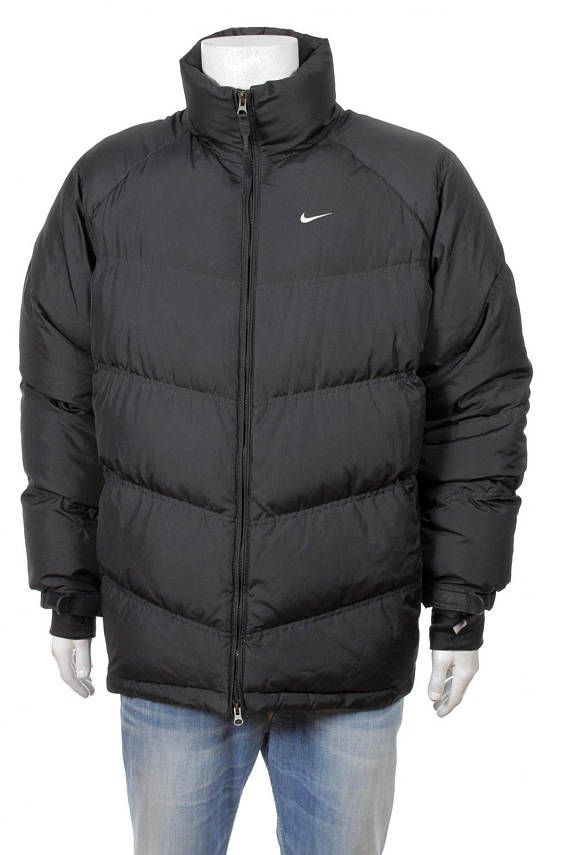 Vintage 90s Nike Swoosh Goose Down Puffer jacket Black Size L in ... e00ed4542