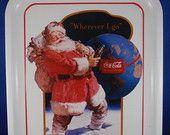 """Vintage Metal Coca-Cola Tray, Advertising Sign, Santa Claus, """"Wherever I Go"""", Circa 1990 by Cindex Distributors of Quebec, Canada"""