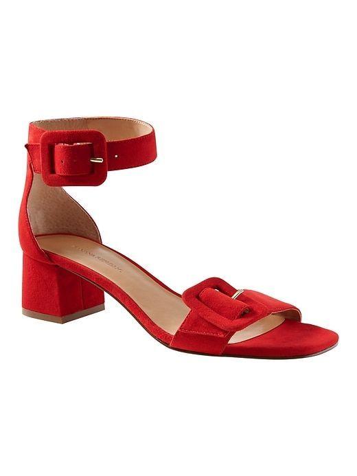 cd4f02b85b4 Banana Republic Womens Buckle Low Block-Heel Sandal Ultra Red Suede   SandalsHeels