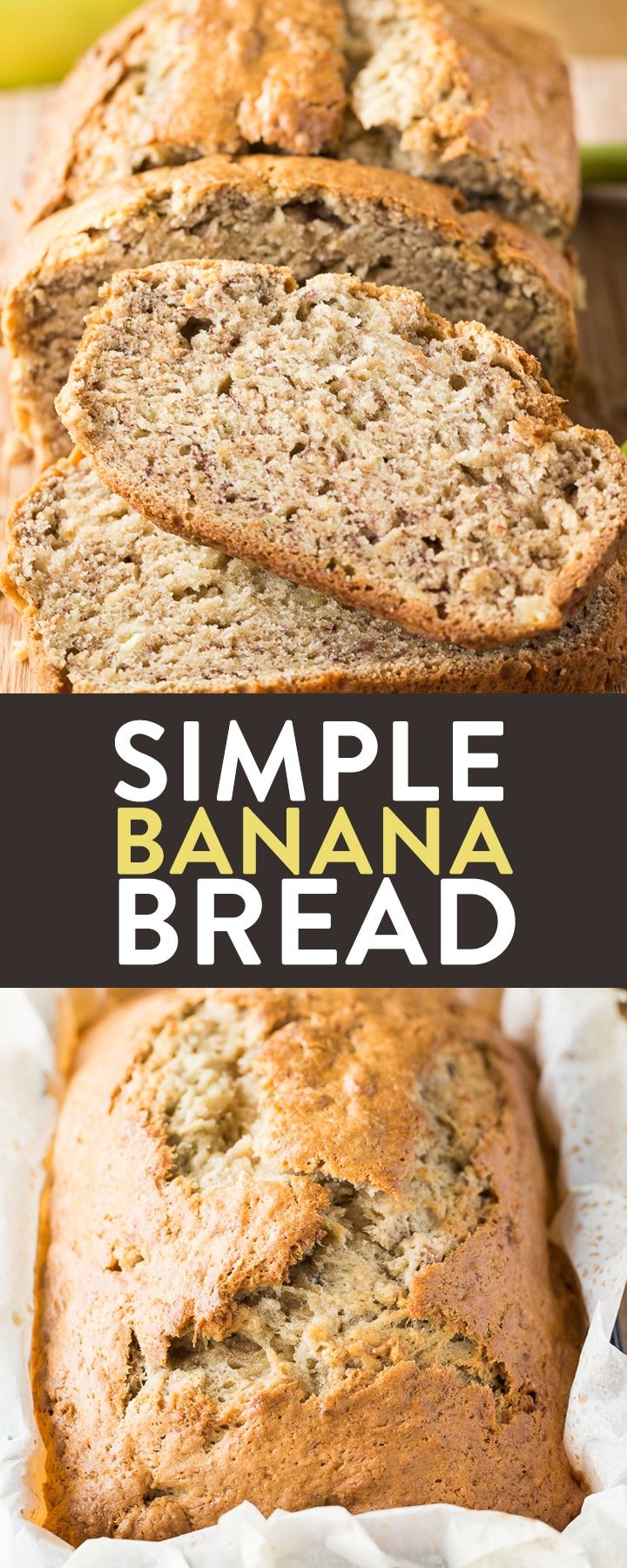 This simple banana bread recipe is an easy and delicious way to use up leftover bananas. It's a classic dessert recipe! It doesn't take much time in the kitchen to prepare either!  via @RandaDerkson