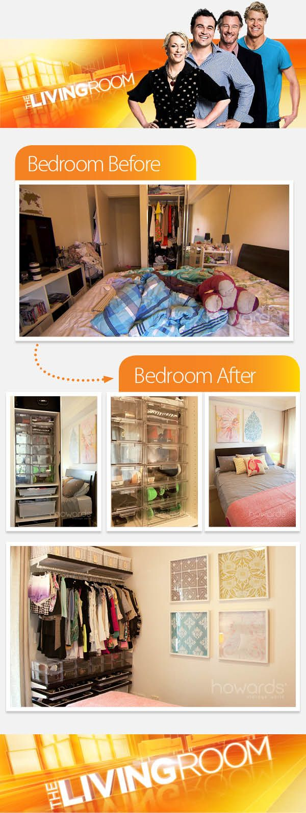 Before and after shot of Bedroom