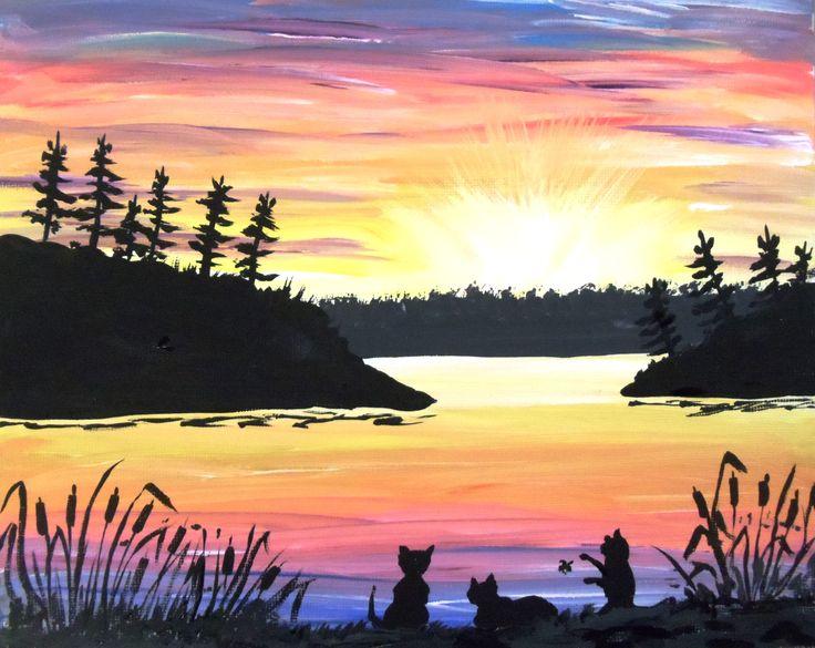 'Three Sisters Sunset' Acrylic 8x10 by Nancy Hunter Muskoka Artist