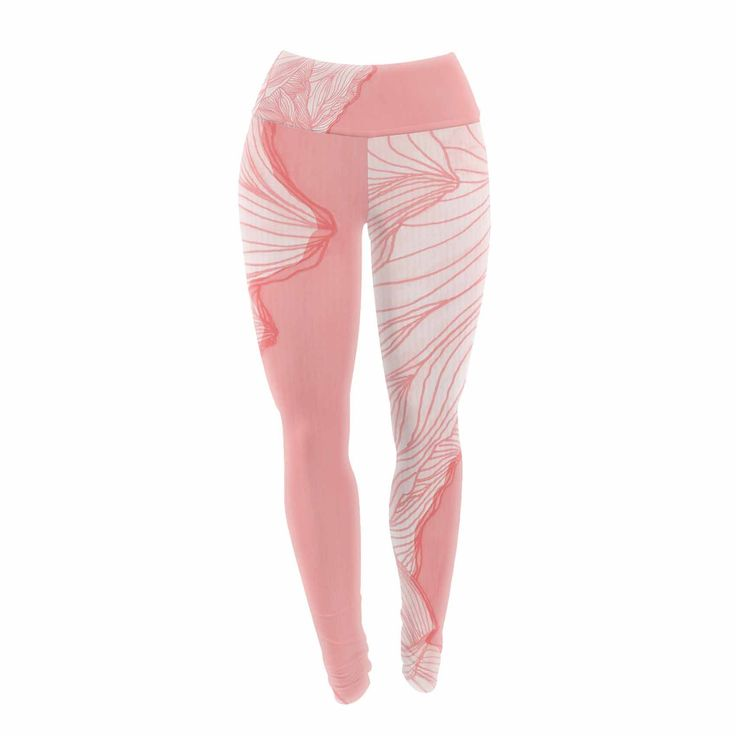 """Viviana Gonzalez """"Lines In The Mountains - Pink"""" Pink White Illustration Yoga Leggings from KESS InHouse"""