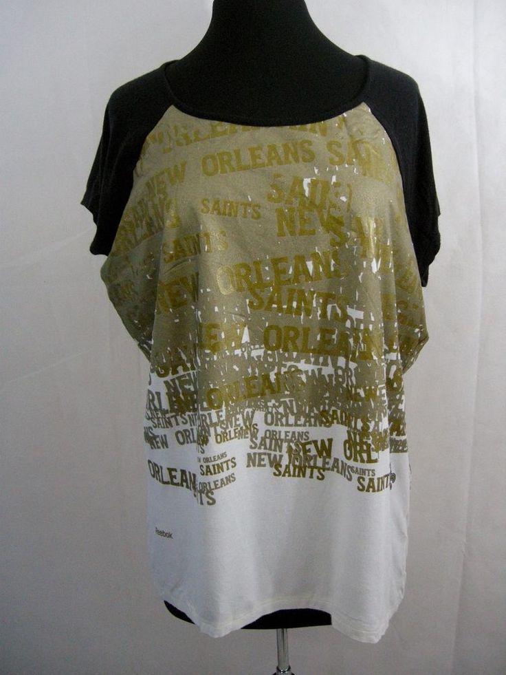 New Orleans Saints NFL Womens Team Apparel Reebok T-Shirt Size 2XL Graffiti Gold #Reebok #NewOrleansSaints