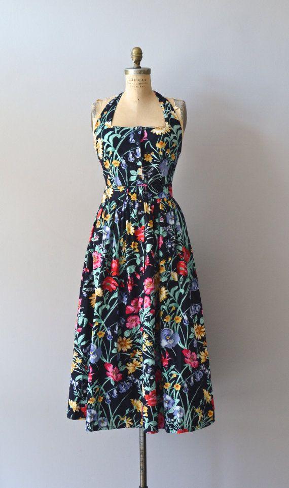 f06a504a4f9c vintage black floral dress / 80s floral halter dress | Hillwood dress |  Estilo | 80s dress, Dresses, Flower fashion