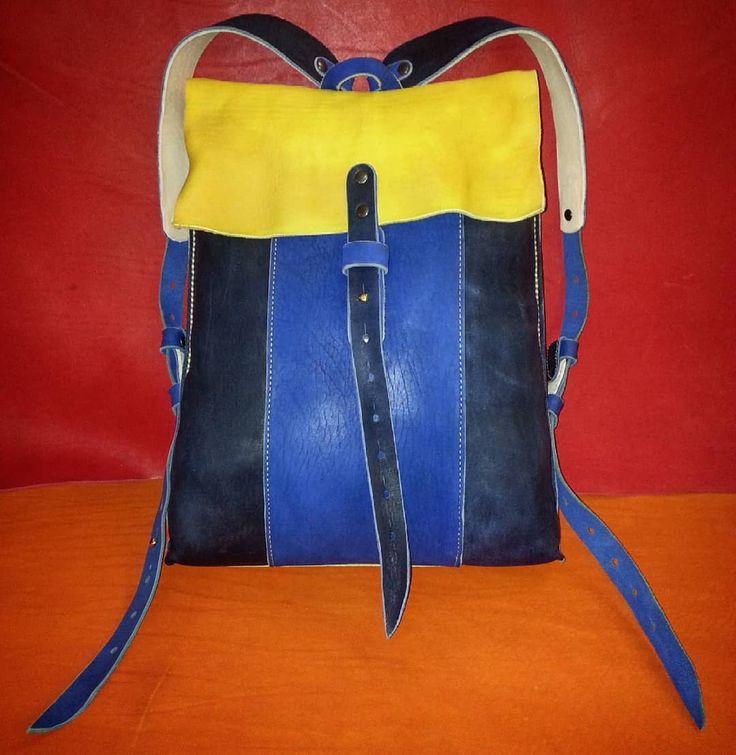 Кожаный ранец ручной работы