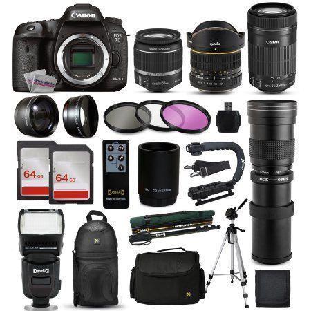"Free Shipping. Buy Canon EOS 7D Mark 2 DSLR Digital Camera + 18-55mm IS II + 6.5mm Fisheye + 55-250 IS STM + 420-1600mm Lens + Filters + 128GB Memory + i-TTL Autofocus Flash + Backpack + Case + 70"" Tripod + 67"" Monopod at Walmart.com"