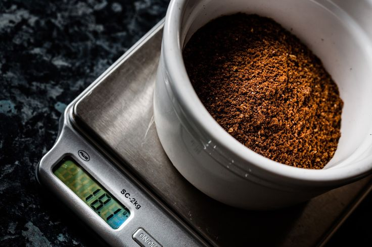 Ground coffee ready for brewing on scales