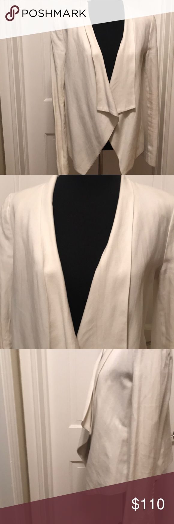 """vintage Abree relaxed  BCBG Maxazria Blazer. Vet mixed vintage lined off white blazer with shoulder pads.  Is an open front blazer. underarm to underarm is 18"""" and length is 26"""" at the longest point in front. Sleeves are 24.5"""" in length.  Is clean but use a dry cleaning. BCBGMaxAzria Jackets & Coats Blazers"""