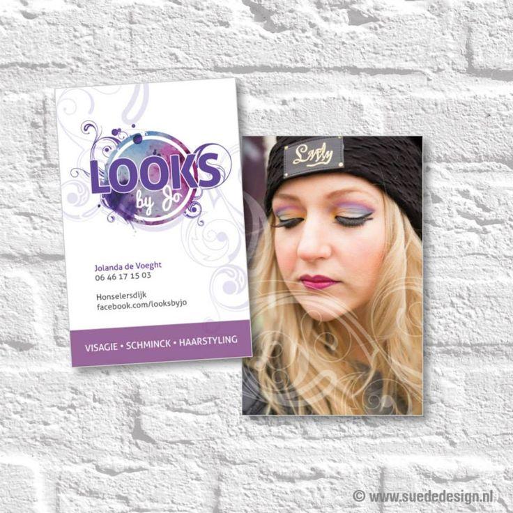 Visitekaartjes Looks by Jo #visitekaartje #visagie #schminck #haarstyling #suededesign