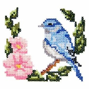 bird1 - Machine Embroidery Cross Stitch Bird and Flower