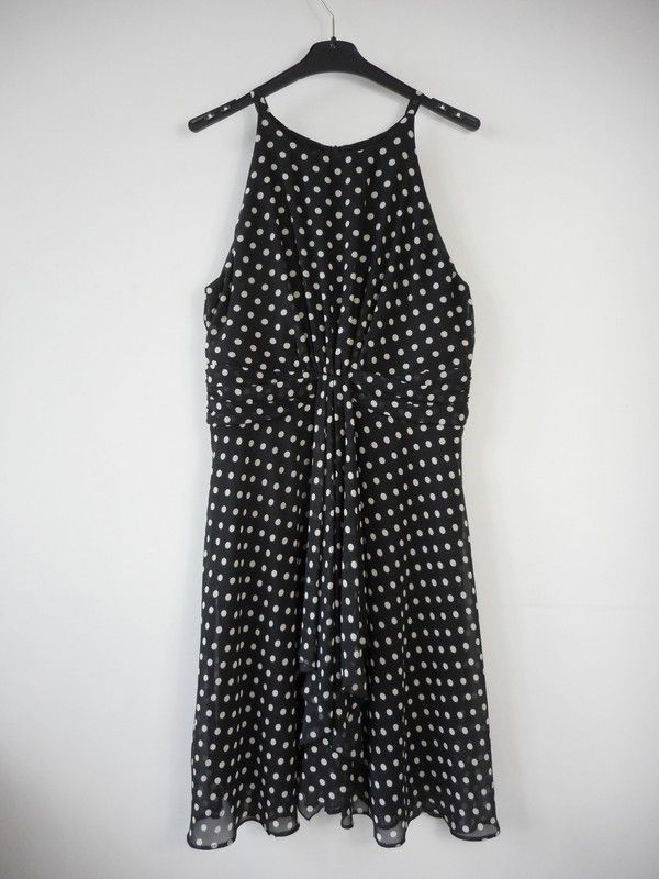c3b65c2736 Wallis sukienka czarna kremowe groszki r. 42 - vinted.pl