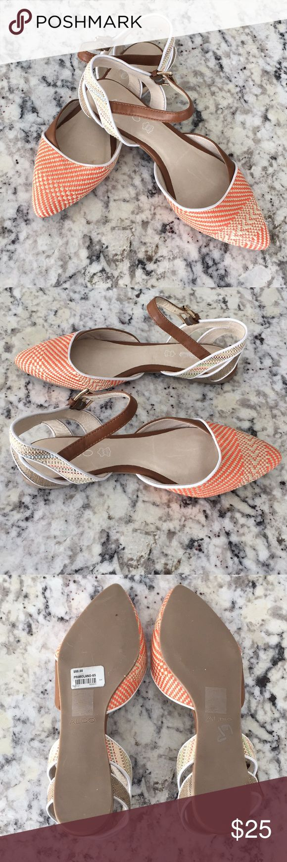 Aldo Primolano Flats- NWOT These adorable flat sandals are perfect for skirts and more! Canvas toe with a straw like appearance! Orange and tan in color! Condition is NWOT, no box sorry! Aldo Shoes Flats & Loafers